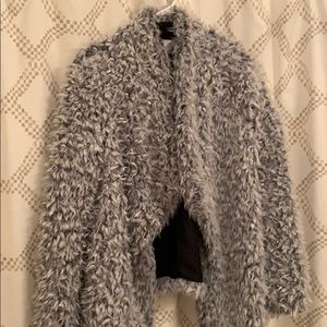 xhiliration L Grey Faux Fur Coat